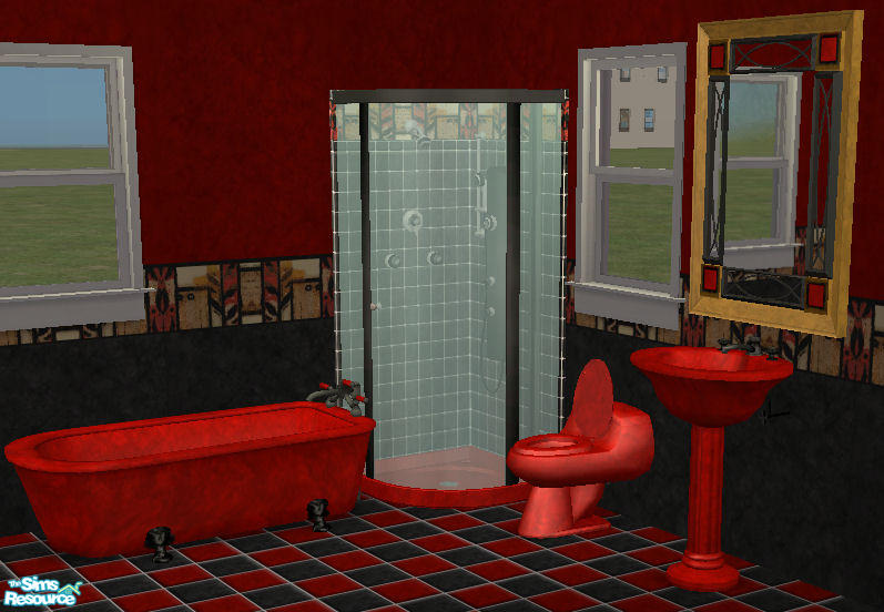 35 Red1060s Reds Red N Black Abstract Bathroom
