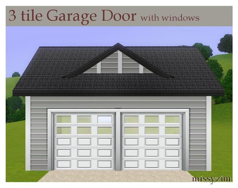 Missyzim 39 s mz 3x1 garage door with windows for Sims 4 garage