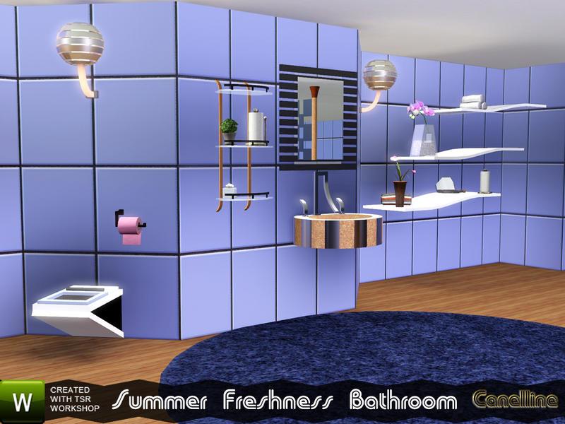 Summer Freshness Bathroom Set. Tiled Wall by Canelline