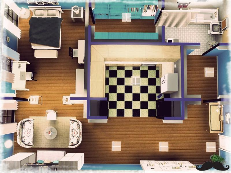 Povilustrations 39 carrie 39 s bradshaw apartment for Apartment design sims 3