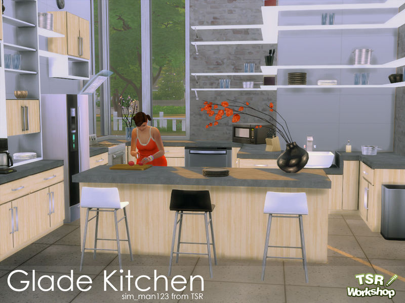 Sim man123 39 s glade kitchen for Kitchen set sims 4