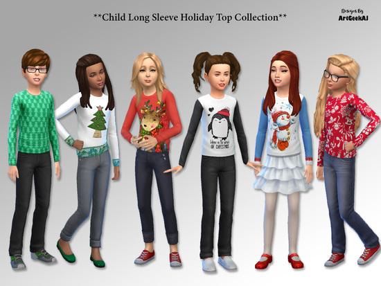 ArtGeekAJ's Child Long Sleeve Holiday Top Collection